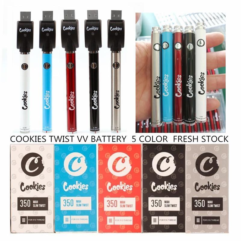 Cookies SF Slim Twist batteria 350mAh inferiore Twist VV 3.3-4.8V Preriscaldare 510 Batteria del filetto per 510 cartucce Vape Spesso olio CO2