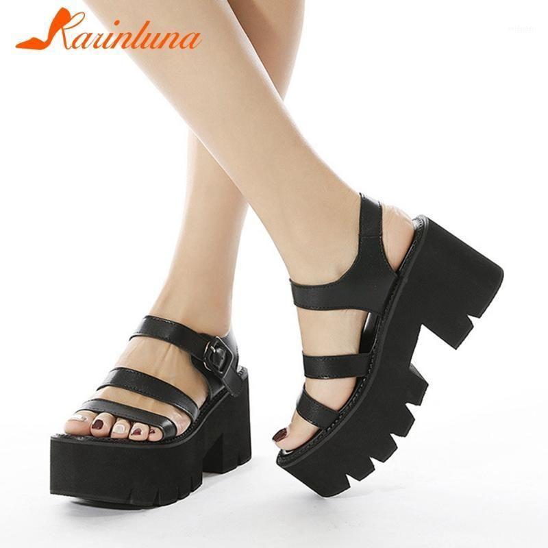 Hohe Qualität Neue Ankünfte Gothic Style Schuhe Schwarz Solid 2021 Mode Knöchelriemen Große Größe 42 Plattform Comfy Sohle Weibliche Schuhe1