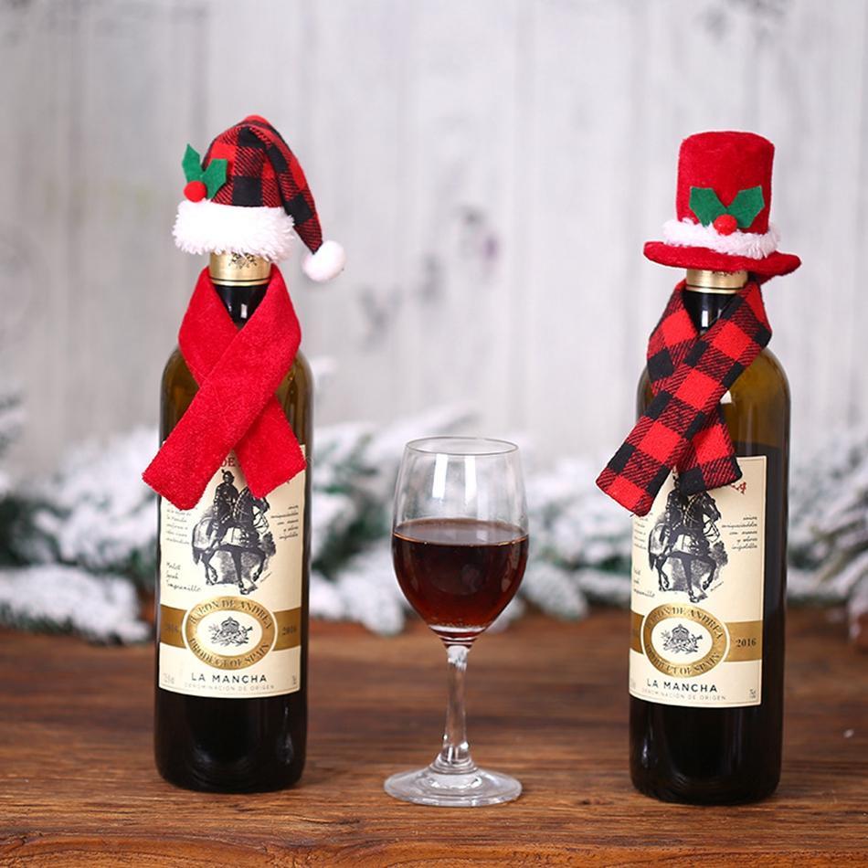 Mini Christmas Santa Claus Hat and Mini Christmas Scarf set for Christmas Silverware Holders Wine Bottle Decorations KKA8138