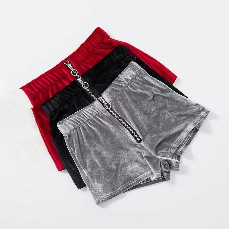 BKLD donne con cerniera in velluto volano con anello casual vita alta 2018 moda moda estate sexy skinny fitness shorts feminino y200414
