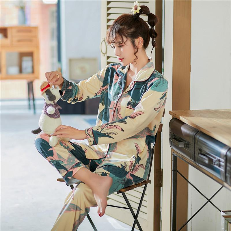 Caiyier Цветок Женщины Хлопок пижамы с длинным рукавом пижамы набор большого размера Женский мультфильм Ночное воротник отложной Lounge Wear 4XL C1115