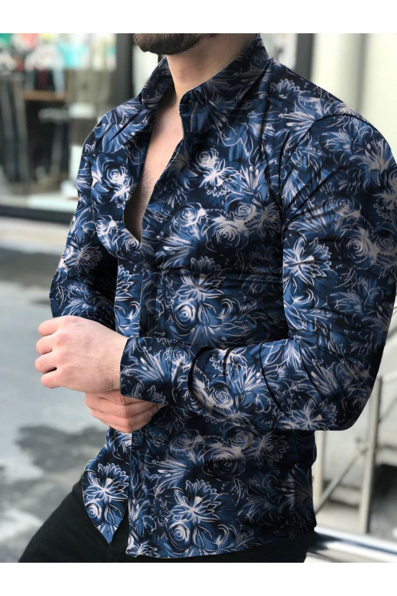 Camisas Florales de Manga Larga de Otoño 2021 Para Hombres, Camisas Estampadas Conver Flores Corte Delgado Para Hombres, Cami