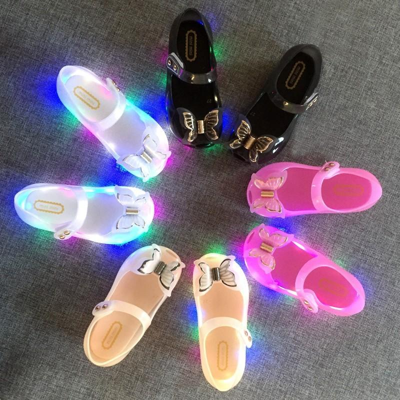 2020 Mini Melissa LED Papillon Jelly Sandales 3D New Girl Chaussures Bow Princesse Jelly Chaussures Princesse Melissa Sandales