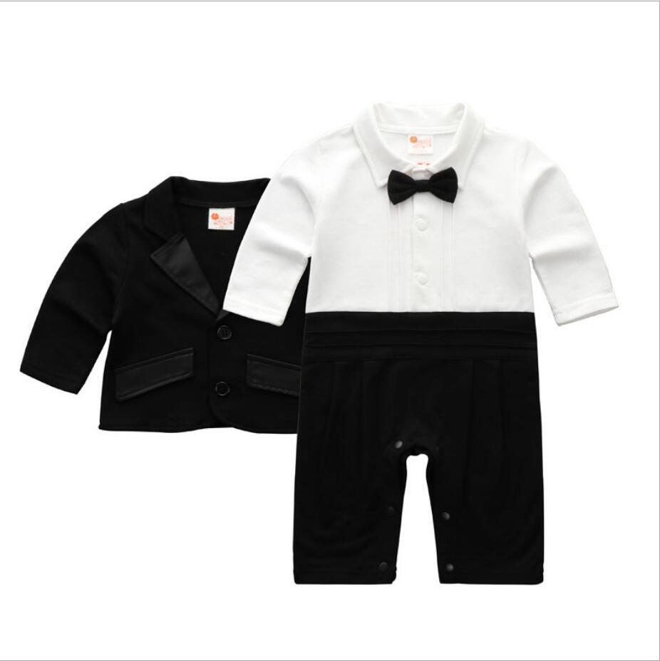 Baby Baby Blazer Suit for Boys Gentlemen Cotton Boy Clothes Set Long Sleeved Romper Jumpsuits and Jacket Infan