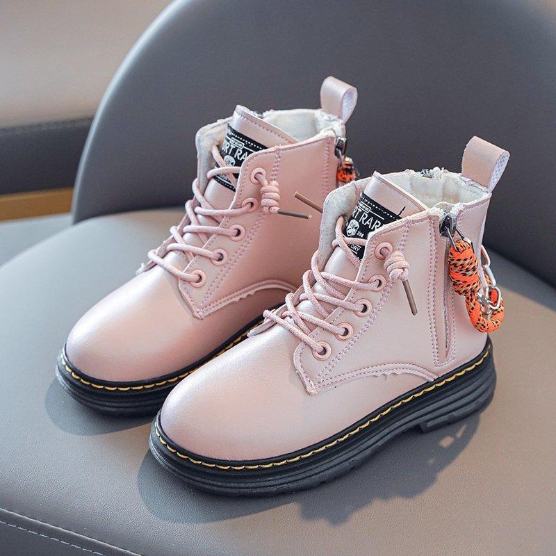 Малыш девушки Boots Размер 26-36 Мартин сапоги для девочек из натуральной кожи кожи водонепроницаемых зим Детей снегоступов