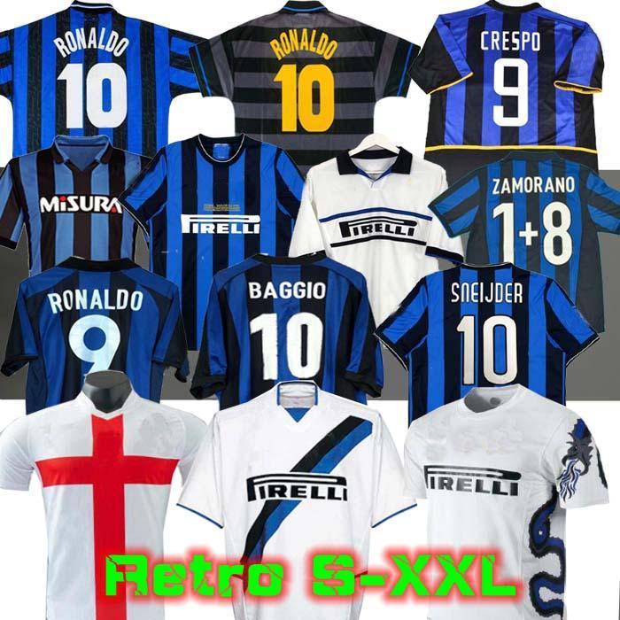 Mailand Retro Soccer Jersey Finale 2009 10 Milsito Sneijder Zanetti Fußball 97 98 99 Djorkaeff Baggio Adriano Eto'o Mailand 10 11 02 03 08 09