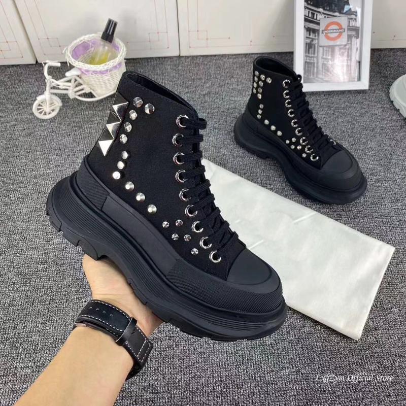 Men Rivet Ankle Boots For Women Thick Platform Fashion Short Boots Ankle Strap Studded Spikes Shoes Woman bota feminina