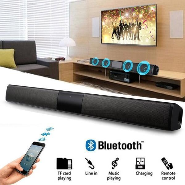 2021 Sıcak Kablosuz Bluetooth Soundbar'da Hi-Fi Stereo Hoparlör Ev Sinema TV Uzaktan Kumanda ile Güçlü Bas Ses Bar subwoofer