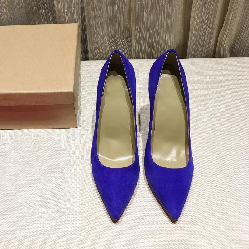 8.5CM 10.5CM High heels women shoes pointed toe real leather designer dress pumps red bottom