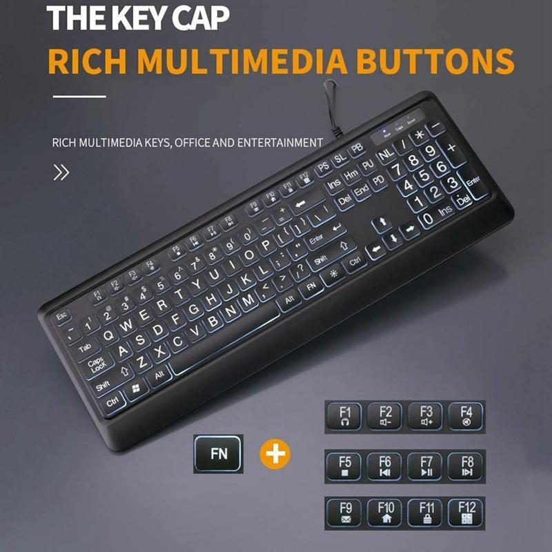 Tastiera retroilluminata Deluxe, grande stampa cablata con tastiera USB con tasti ad alto contrasto e tuta LED illuminata bianca