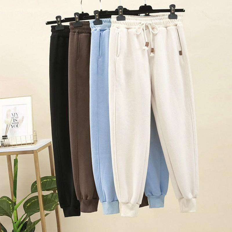 Spring Winter Women Harem Pants Thicken Plush Elastic Waist Drawstring Casual Aesthetic Pants Loose Jogger Baggy Trousers Femme1