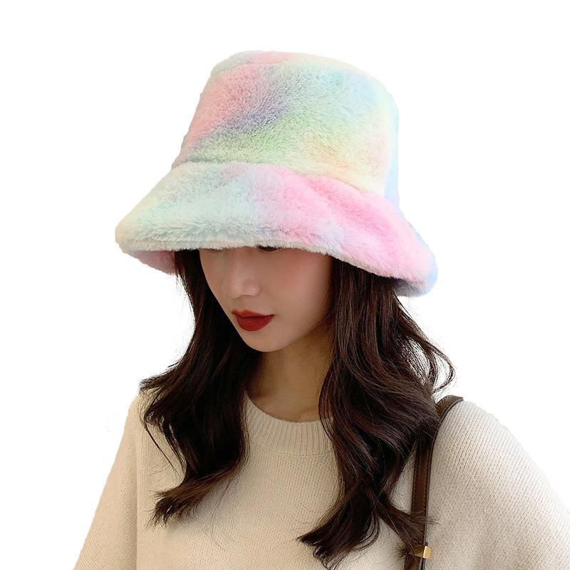 الشتاء النساء القبعة التعادل صبغ الفراء الدافئة أنثى كاب فو الفراء في فصل الشتاء قبعة دلو للمرأة في الهواء الطلق واقية من الشمس أحد قبعة بنما سيدة كاب