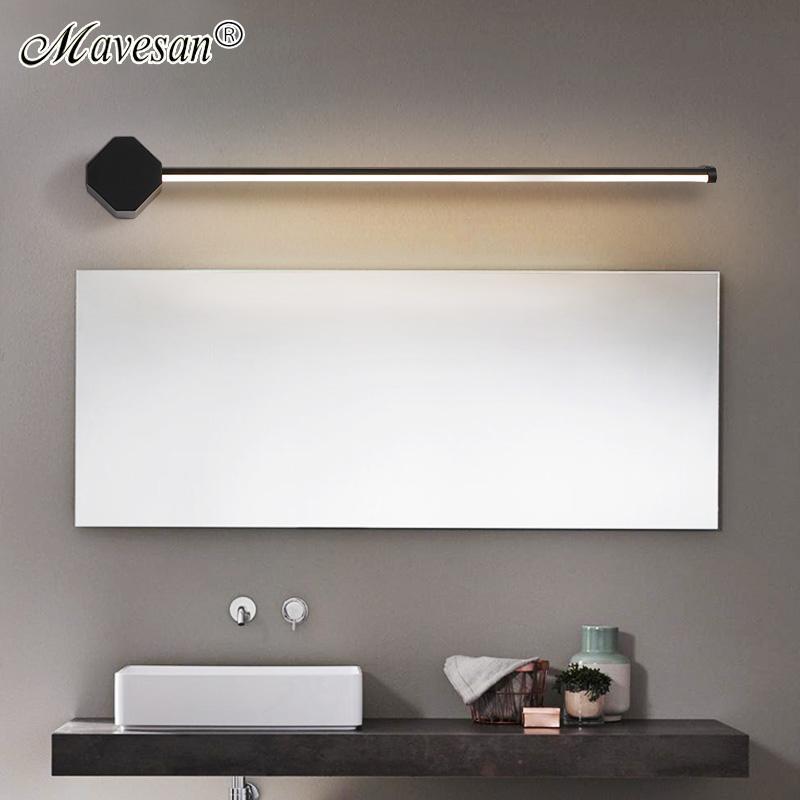 Lámparas de pared led recta Negro / blanco para Bedisde Cuarto de baño Espejo Loft Corredor Cocina Fondo de pared Interior Sconence AC90-260V