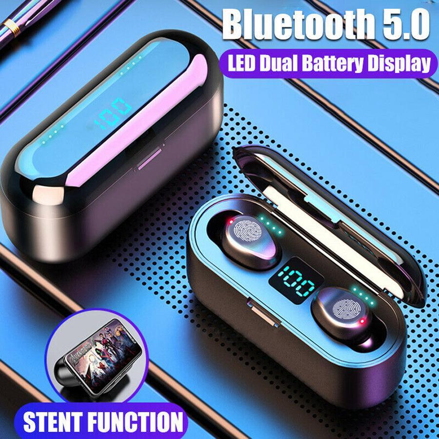 Écouteurs d'écouteurs sans fil F9 TWS 5.0 Bluetooth IPX5 IPX5 Étanche 3D Stéréo Stéréo Headsque Casque avec boîte de chargement
