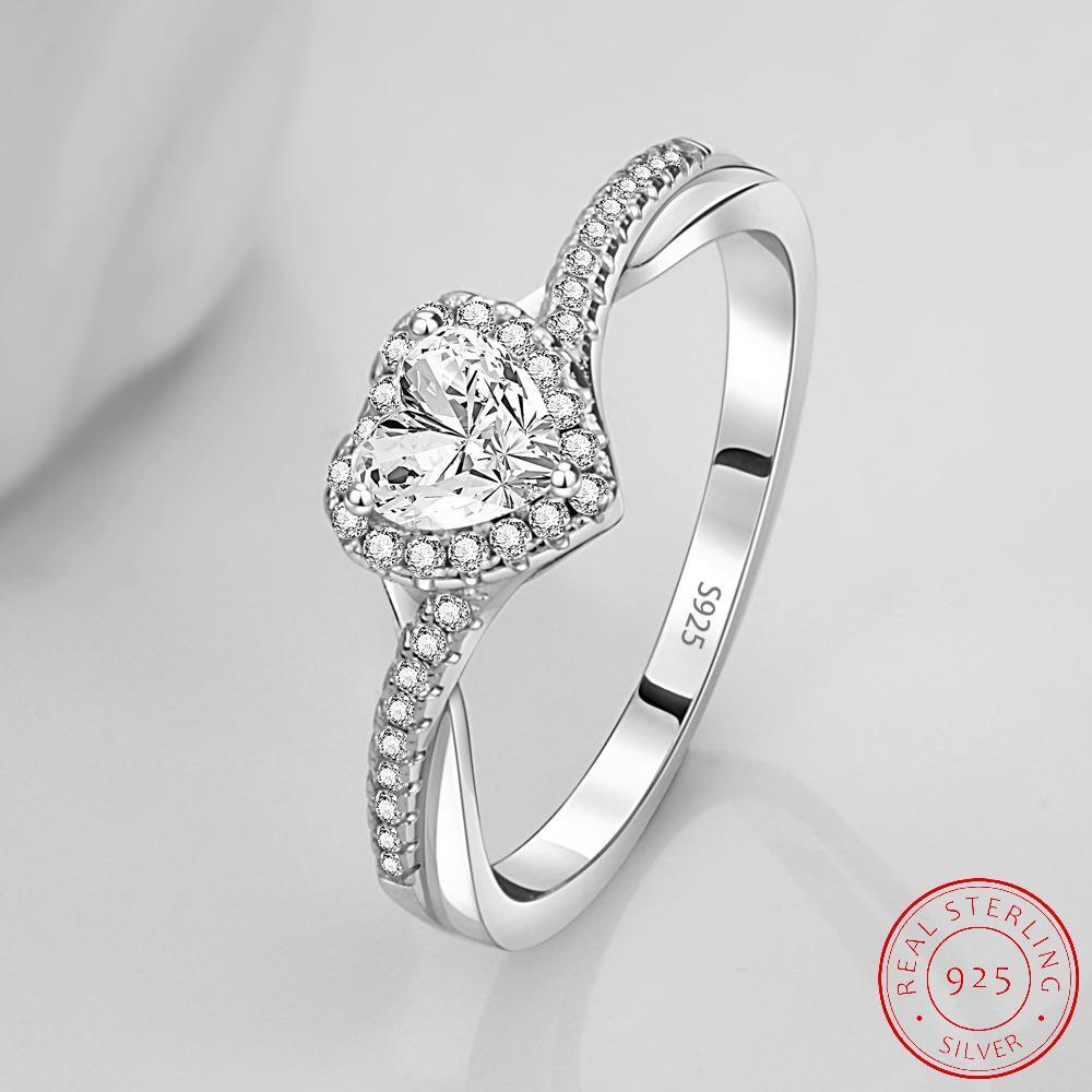 100% Sterling Silver 925 Women Rings Simple Heart Zircon Ring For Women Fine Silver Jewelry Engagement Wedding Girl Gifts XR502