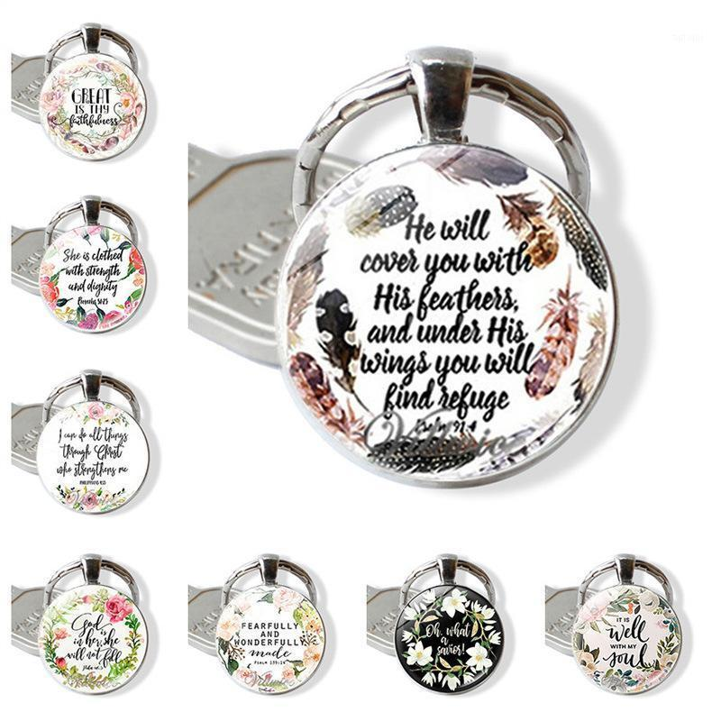 WG 1pc Fashion Bible Verse Time Gem cabochon Glass Ball Keychain Keyring Pendant Jewellry For Christian Gifts1