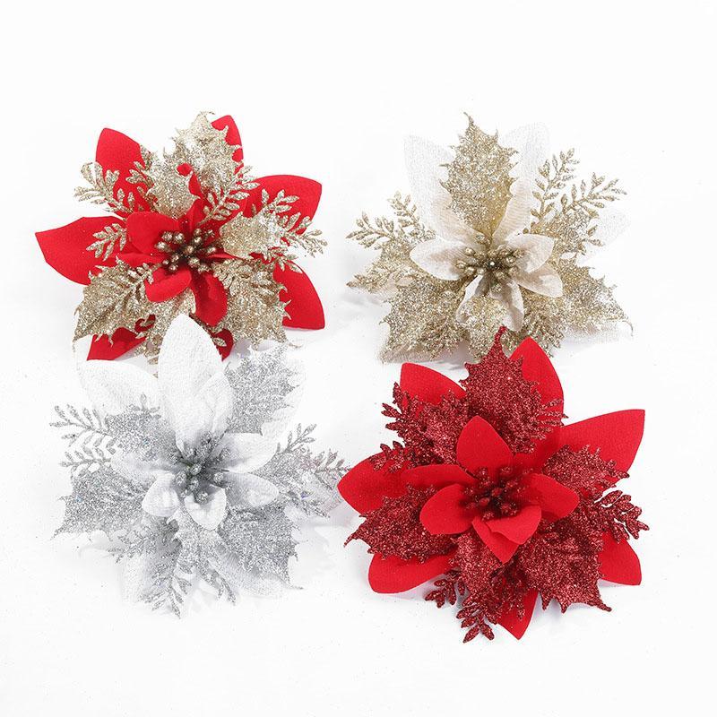 6pcs Glitter Artifical Christmas Flowers Christmas Tree Decoration Fake Flowers Xmas Ornaments New Year's Decor 2021