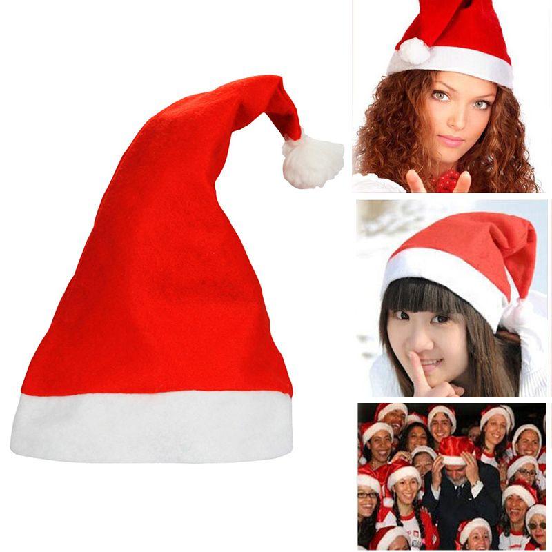 Navidad sombreros de Santa Claus Partido rojo y el casquillo blanco Sombreros para la decoración traje de Santa Claus Navidad para los adultos sombrero de la Navidad