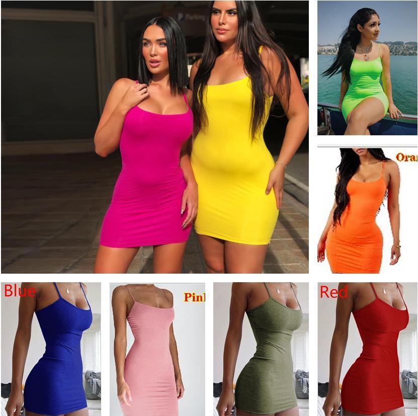 14 colores mujeres 2021 primavera y verano estilo suspender vestido sólido color simple colgando cuello apretado nalga falda moda casual vestido