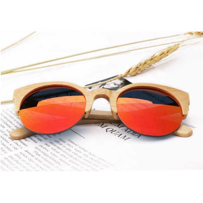 Оптом мода солнце мужская половина UV400 унисекс солнцезащитные очки кадр зеркало круглые поляризованные очки вождения женщин пользовательские качественные бамбуковые таухфа