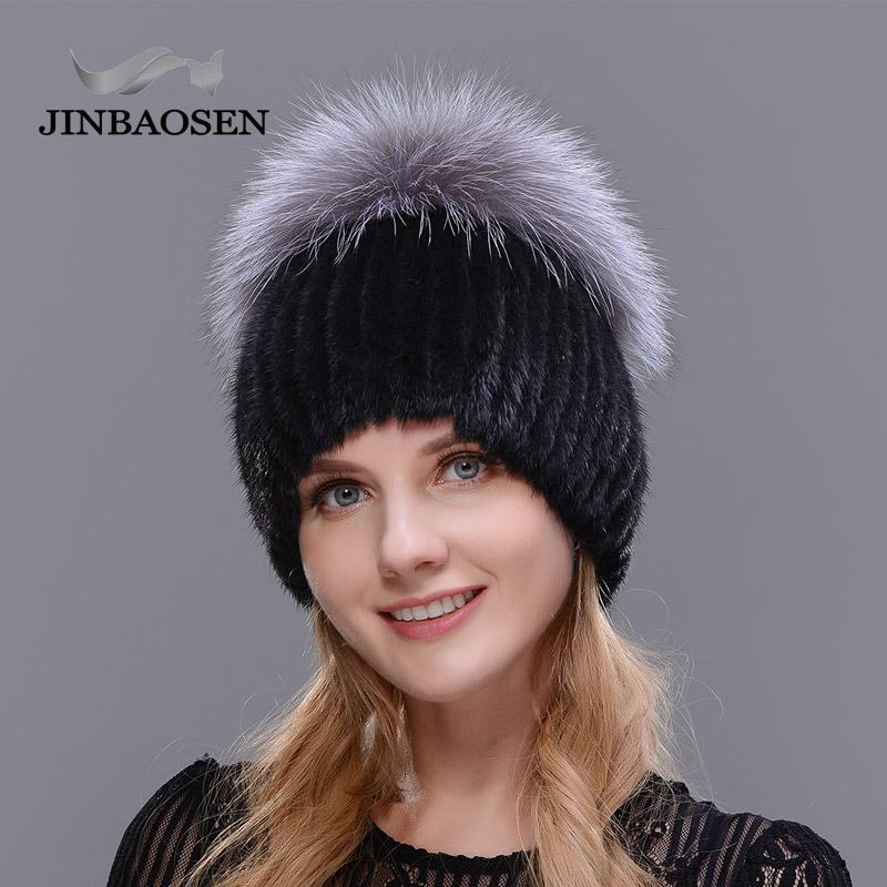 freies Verschiffen Ski Hut stricken Liner JINBAOSEN 2020 russischen Stil des Winters weibliche Pelzmütze und Pelz Nähten