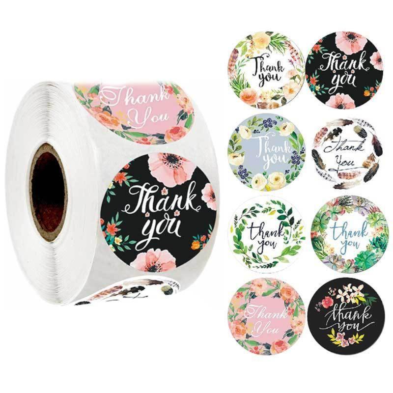 500 unids Etiquetas Adhesivo Agradécele a Pegatinas Pegatinas Roll Flower Impreso DIY Bolsos Bolsa Regalos Regalos Pan Package Bag Sobres Sobres SMQXA