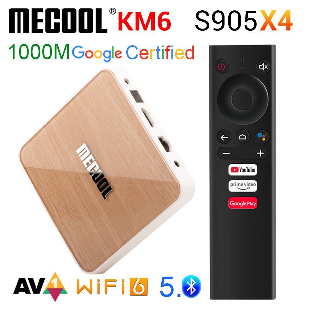 MeCool KM6 Google شهادة ATV Android 10 TV Box Amlogic S905x4 Android10.0 مجموعة أعلى الصناديق 2.4 جرام / 5 جرام Wifi 6 1000m BT5.0 4GB 64GB Media Player 4G32G