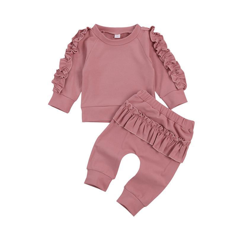 Zestawy odzieżowe Born Baby 0-24m Bawełna Chłopcy Dziewczęta Ruffles Decor Bluza + Spodnie Solidna Długie Rękaw Niemowlę Upadki Ubrania