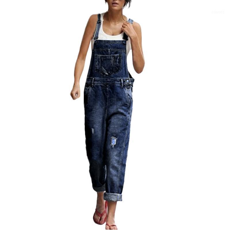 الأزياء عارضة المرأة جودة عالية فضفاض الدينيم الجينز السراويل ثقب وزرة الأشرطة بذلة السروال القصير السراويل 2.191