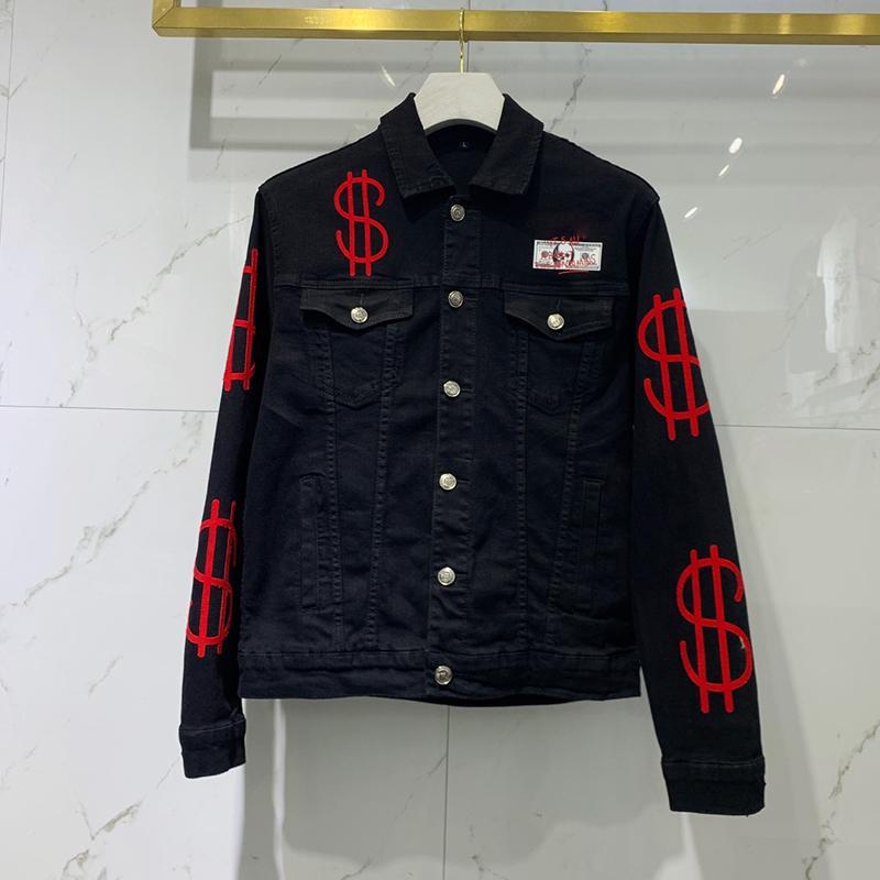 Negro Azul Denim motorista chaquetas para los hombres ajuste delgado corto salto de la cadera ocasional de la motocicleta Abrigos Tops letras de fitness ropa bordada M-3XL