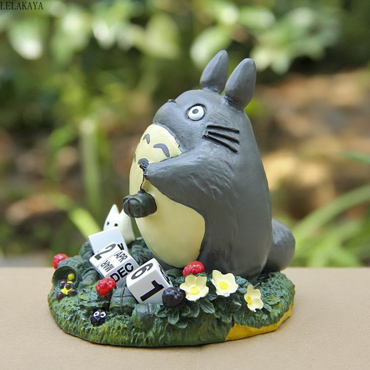 귀여운 토토로 달력 공예 크리 에이 티브 애니메이션 액션 그림 인쇄 만화 수지 마이크로 가로 화분 장식 인형 선물