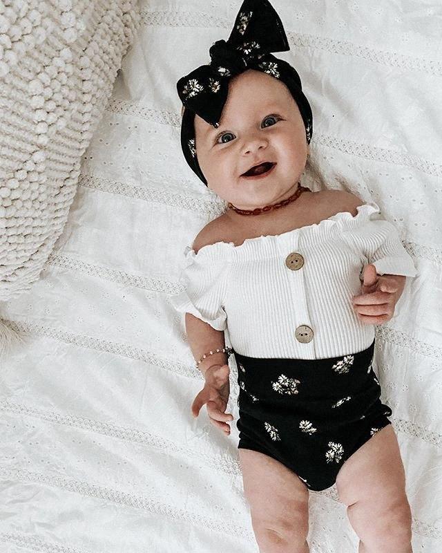 0-18M Soft Cotton Newborn Clothing Infant Baby Girls Boys Clothes Sets 3pcs White Short Sleeve Romper Floral Shorts Headband BMC0#