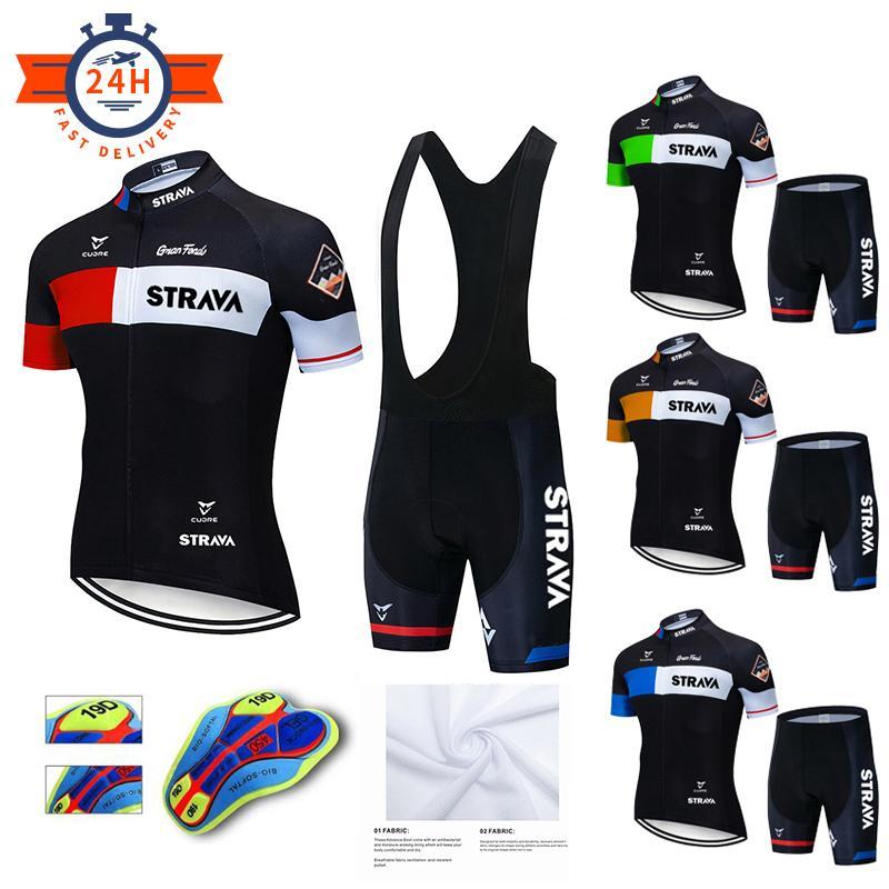 Cyclisme Set Nouveau 2020 Strava Hommes Vêtements de cyclisme Vêtements Vélos Vêtements Vélo Veille respirant Anti-UV Vélo Vélo Sports Cyclisme Jersey Ensemble C0123