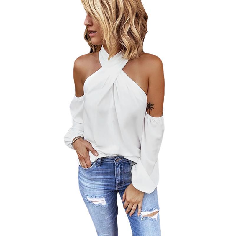 Spalla sexy freddo camicette delle donne lunghe signora del manicotto Camicia Criss Cross Halter Bandage bluse e camicie Nero Bianco Top
