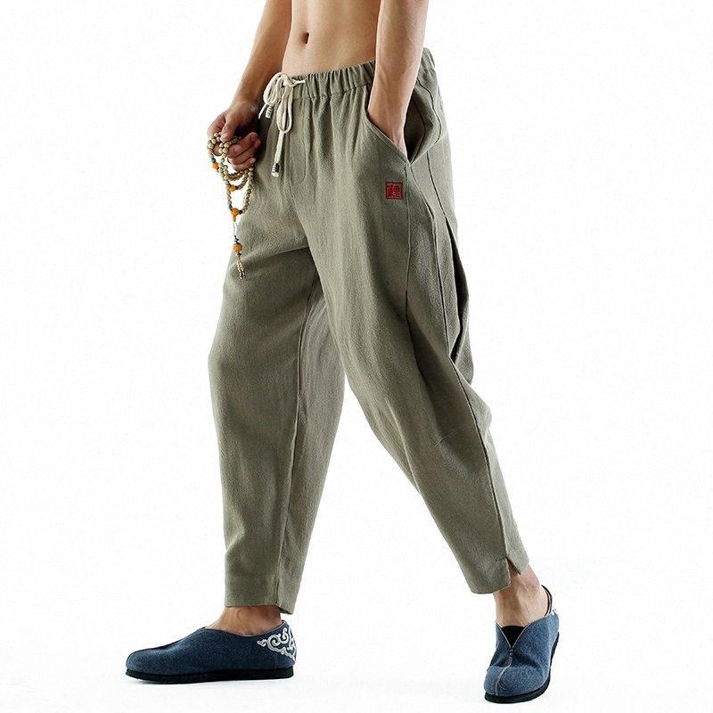 2020 2020 Pamuk Keten Harem Pantolon Erkek Jogger Pantolon Yeni Erkek Rahat Parça Pantolon Hip Hop Gevşek Çin Geleneksel M8N8 #
