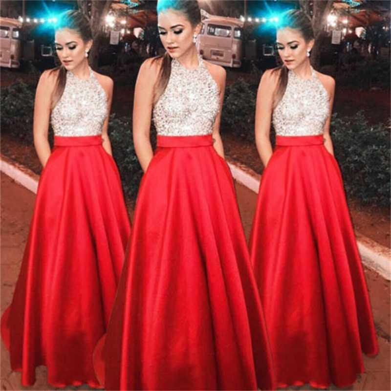 2019 mode maxi frauen sexy pailletten rote ärmellose hohe taille lange abend formale partei ball prom Kleid heiß