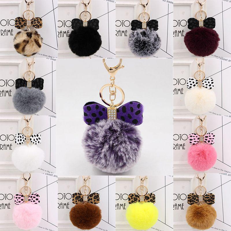 Leopard Print Keychain Fluffy Faux Rabbit Fur Ball Women Handbag Pendants Car Key Ring Crystal Bow Key Chains Jewelry