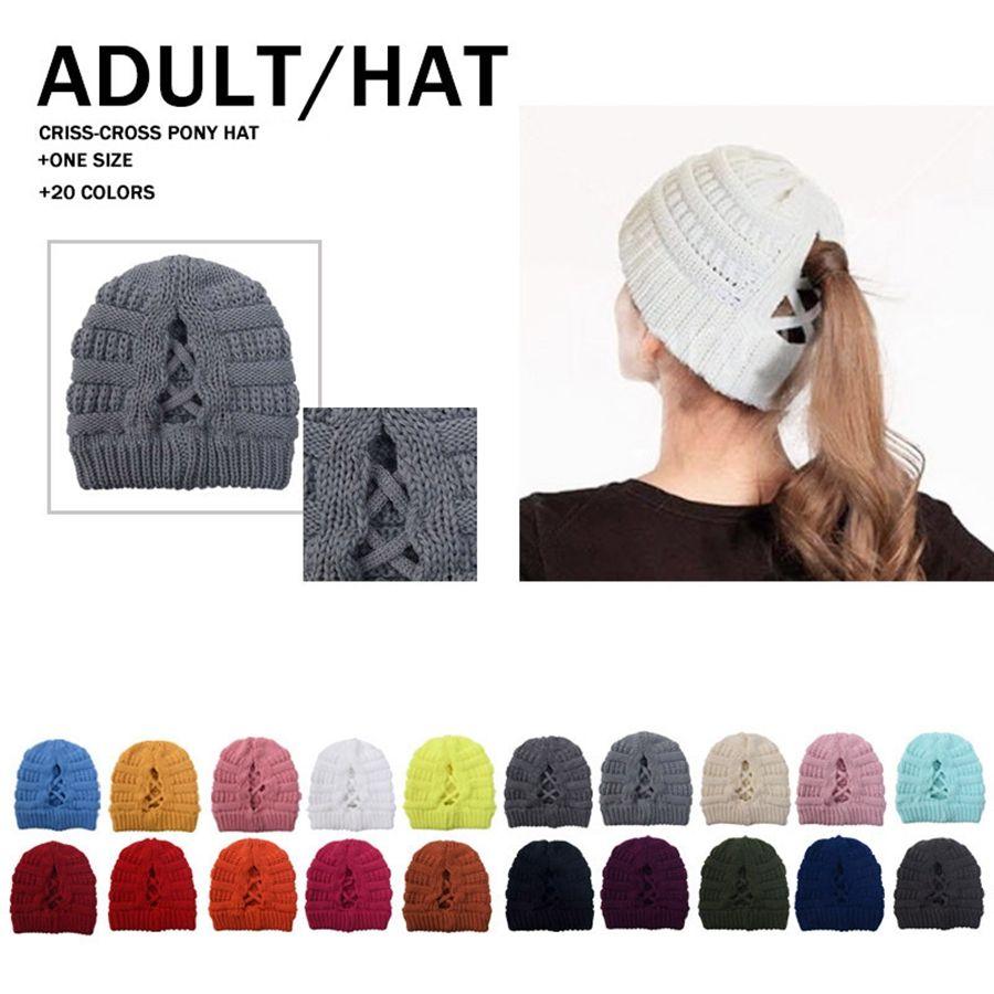 Le donne lavorato a maglia Caps Criss Cross Coda di cavallo Beanie calda inverno all'aperto cappello di lana per adulti sci Skull Cap Knitting DDA630