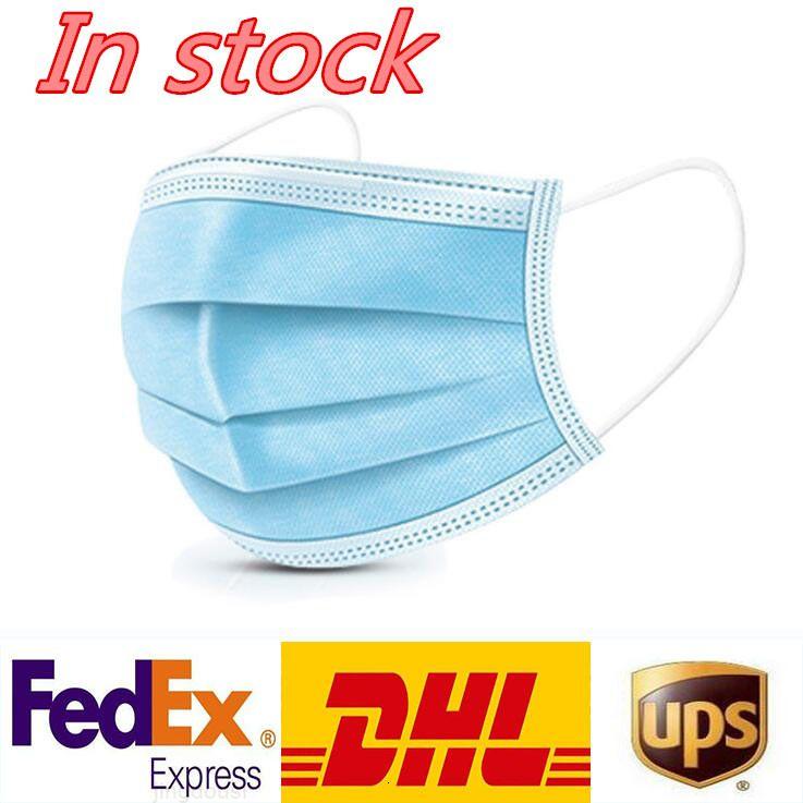 Schutz DHL Freies Verschiffen Einweg-Maske-Masken 3ply-Vlies-Gesichts- und persönliche Gesundheitsmaske mit Holousinen-Mundgesichts-Sanitärmasken W1