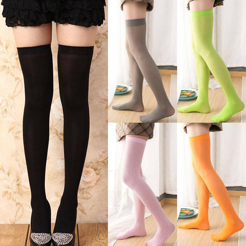 Japonés mujer sólido muslo alto largo sexy sobre calcetines de rodilla medias de alumnos acrílico medias de algodón femenino