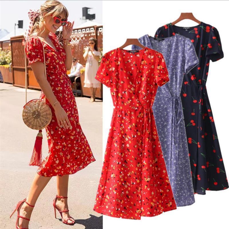 Цветочные принты Линия Платье Летние V-образные вырезы Wrap Count Gail Сплит Платье Повседневные Платья Падение Доставка