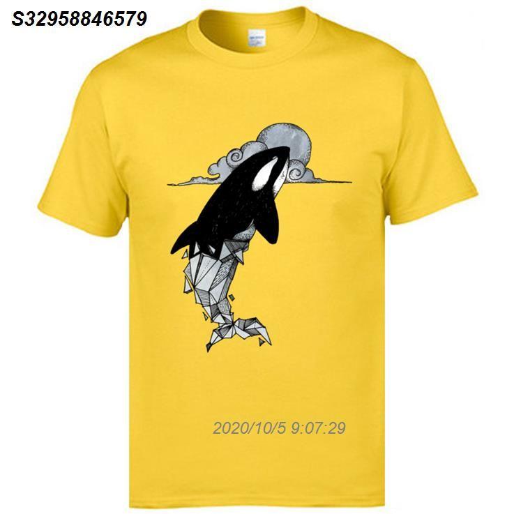 Марка тройники Mans Хлопок Топы Рубашки животных Printed Mens T-Shirt Orcinus Orca Геометрическая вскользь фуфайки лето 4515510