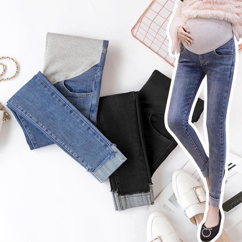 Jeans de maternité pour les femmes enceintes grossesse taille élastique Pantalon ventre Vêtements de maternité pour les femmes enceintes Denim Pantalons C1002
