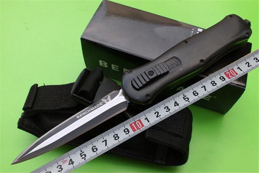 새로운 벤치 메이드 맥 헨리 3300 이교도 흑단 핸들 옵션 이교도 칼 더블 블레이드 전술 자동 BM 3350 개 칼 자동 칼