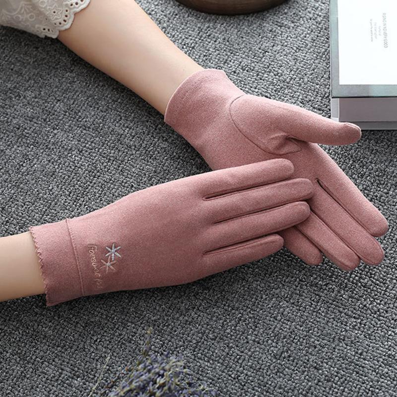 Luxo-Outdoor à prova de vento luvas quentes Mulheres Anti-derrapante Touch Screen Luva Senhora de algodão Sun Proteção Mittens