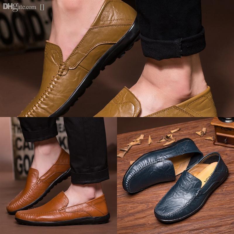 Adkhc Nouveaux mocassins de concepteur chaussures de chaussures de chaussures de chaussures de chaussures haute qualité haute qualité Mocassins Homme Cuir Mens Homme Confortable Hommes Soft Hommes Appartements
