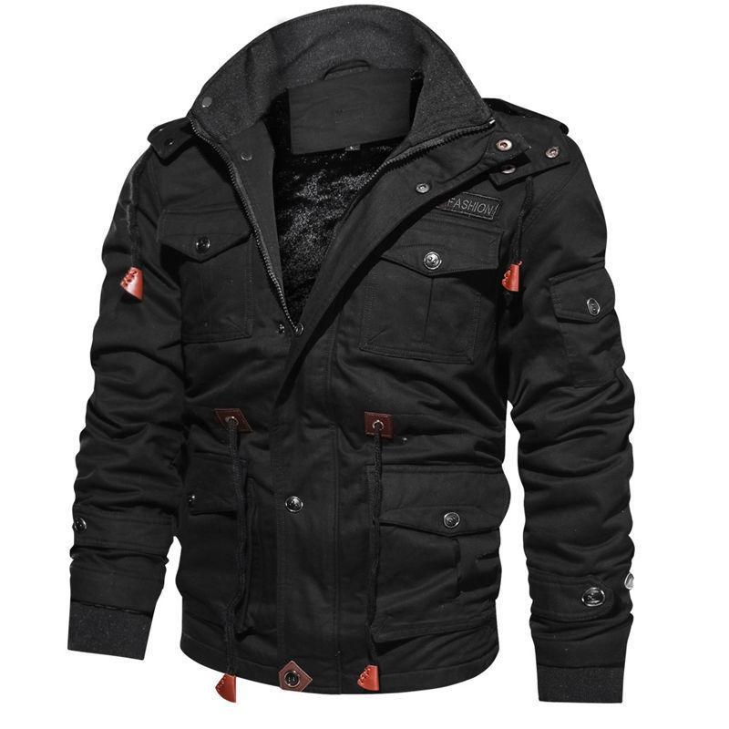 Yeni Geliş Erkekler Kış Polar Ceketler Sıcak Kapşonlu Coat Termal Kalın Dış Giyim Erkek Askeri Ceket Erkek Marka Giyim 201019