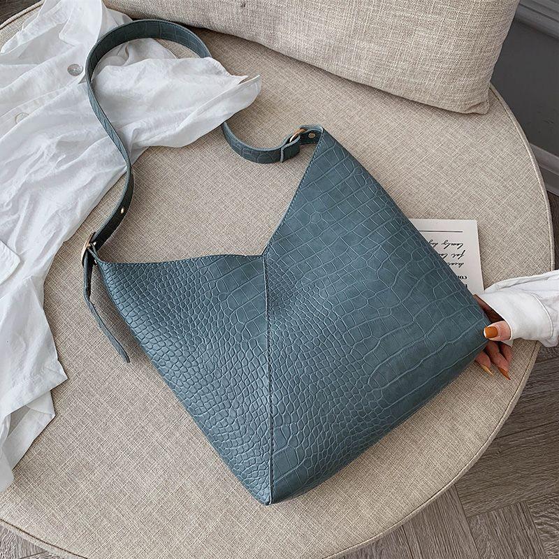 Large Capacity Crocodile Pattern Bucket Bag PU Leather Shoulder Bags For Women Composite Crossbody Messenger Bag Ladies Hand