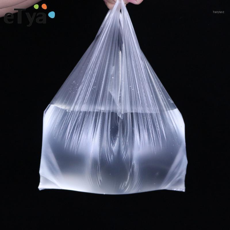 ETYA BAG Handbag1 Tamaño claro Nylon 100pcs Tote Pequeñas compras grandes Nuevo Reutilizable Bolsa de Compras Plegable Bolsa de almacenamiento Transparente Voguu
