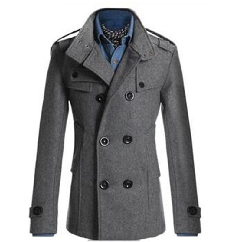 Casaco de lã Inglaterra do vintage para homens magros misturas de lã Jacket Casacos Abotoamento Brasão de algodão Trench Inverno de espessura Overcoat